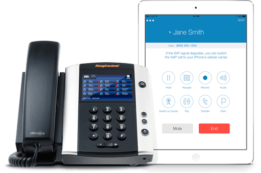 phone with ipad showing ringcentral app